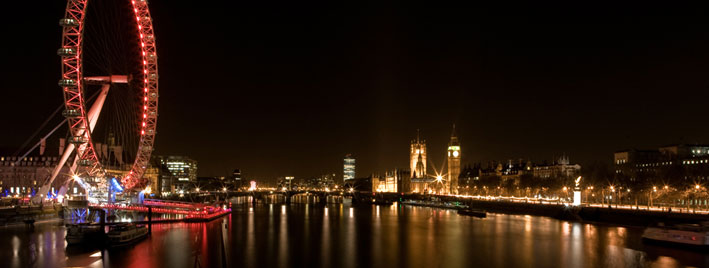 London Eye, River Thames and Parliament at night