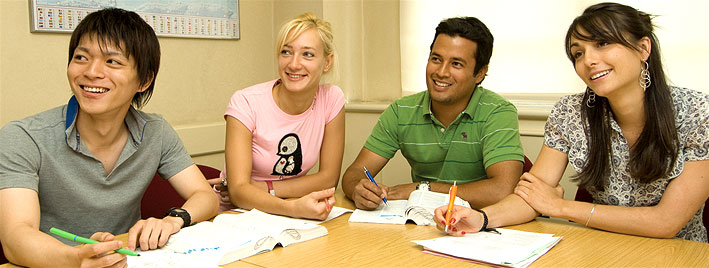 Students learning English in London