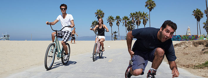 Biking and blading by the beach, Los Angeles