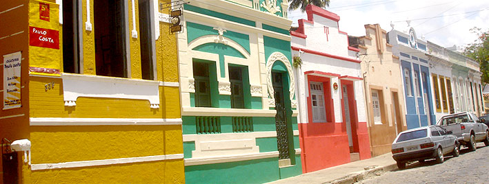 Colourful buildings in Maceio, Brazil