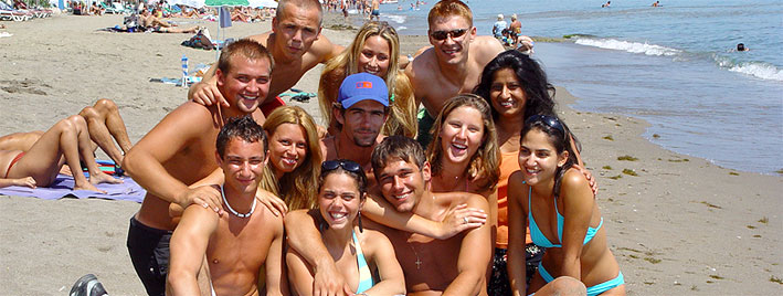 Students at the beach in Marbella
