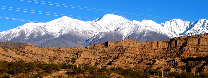Snow capped mountains in Mendoza