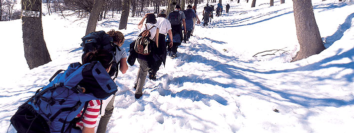 Hiking through the snow in Mendoza