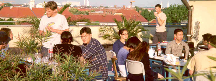 Rooftop terrace German school in Munich