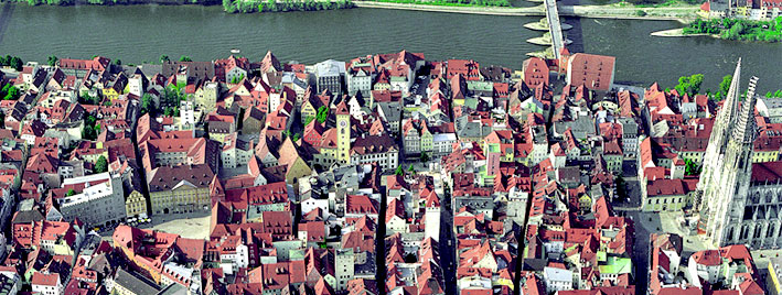 Aerial view over Regensburg, Germany