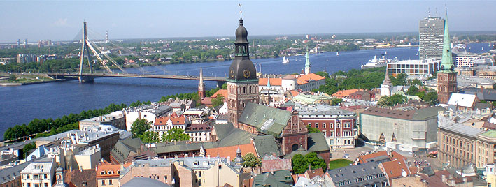 Aerial view of Riga showing Vanšu Bridge