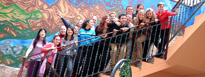 Students on stairs in Salamanca Spanish school