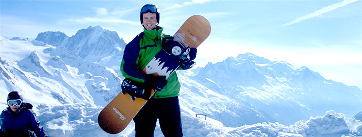 Snowboarding in Chamonix, French Alps