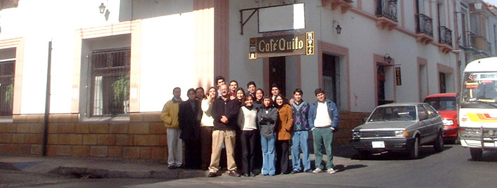 Students outside Café Quito in Sucre