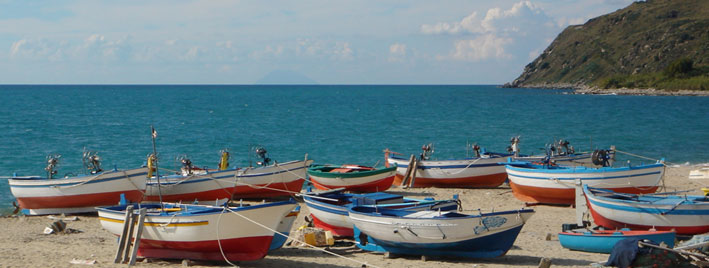 Colourful boats in Tropea, Italy