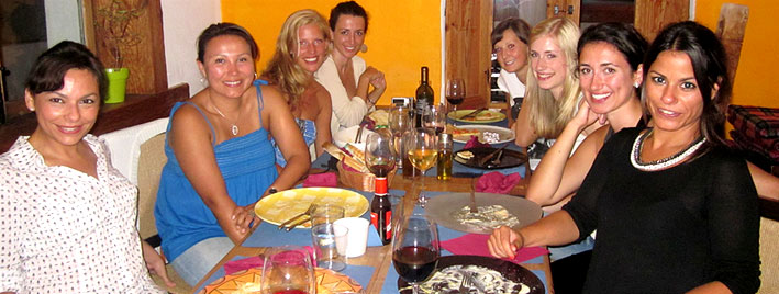 Spanish meal with students in Vejer de la Frontera