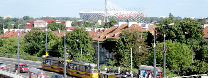 Narodowy Stadium and tram in Warsaw