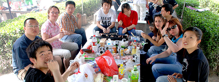 Eating after Chinese lessons in Xi'an