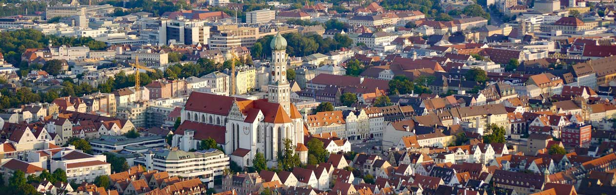 View over rootops and Augsburg Cathedral in Germany