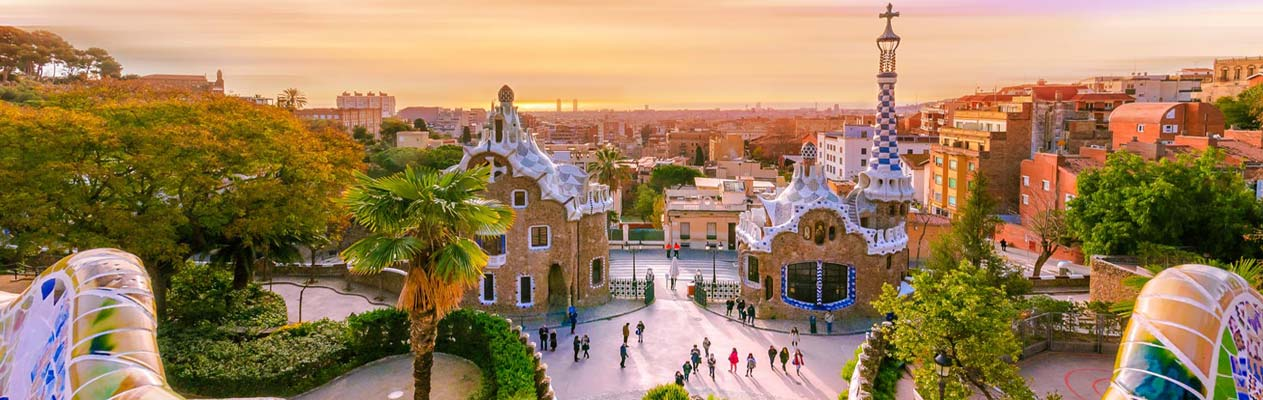 Parc Guell at sunset in Barcelona, Spain