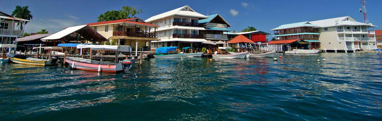 Houses by the water in Bocas del Toro