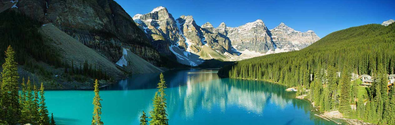 Moraine lake, trees and mountains in Canada