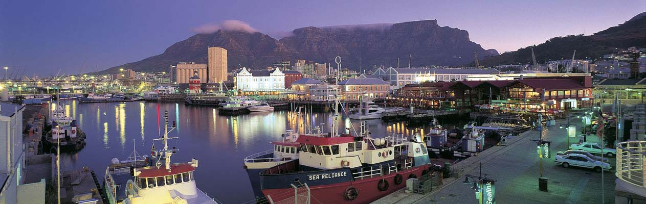 Cape Town and Table Mountain at dusk