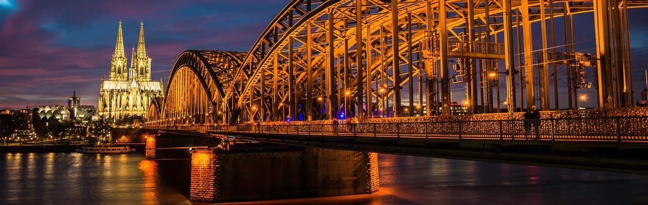 Cologne Dom and Hohenzollern Bridge at night