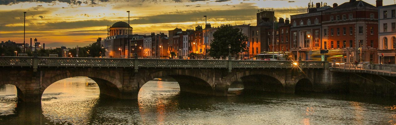 Bridge at dusk in Dublin, Ireland