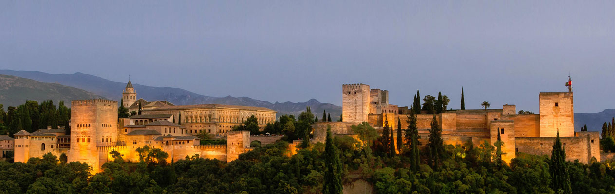 Alhambra Palace at dusk, Granada