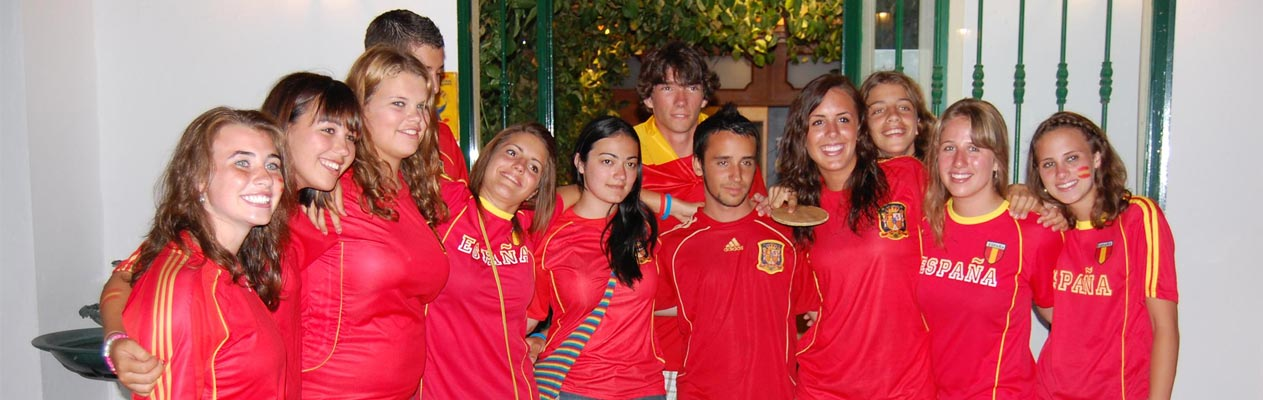 Young students in Benalmadena with Spain football kit
