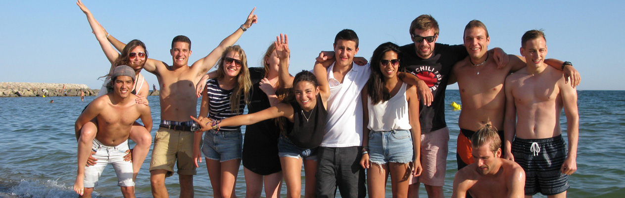 Young students at the beach in Montpellier