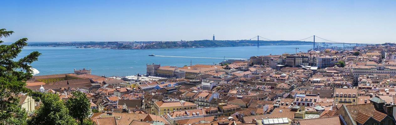 View over Lisbon and the river Tagus