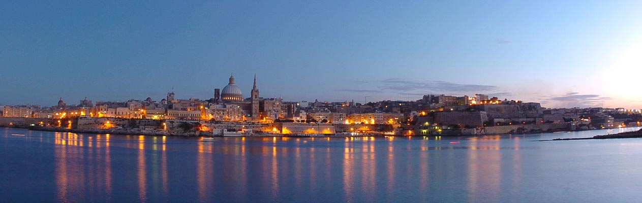 Valletta, the capital of Malta at dusk