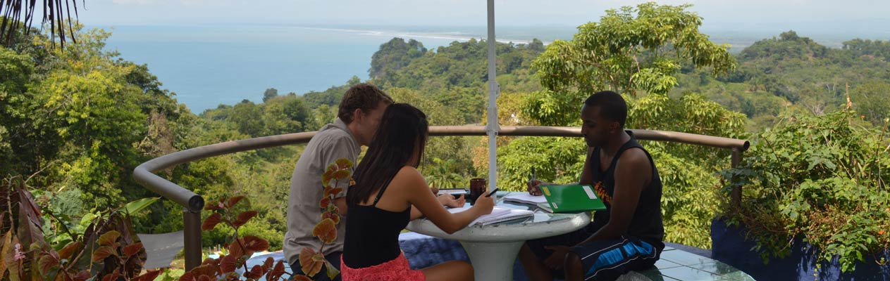 Students studying Spanish in Manuel Antonio