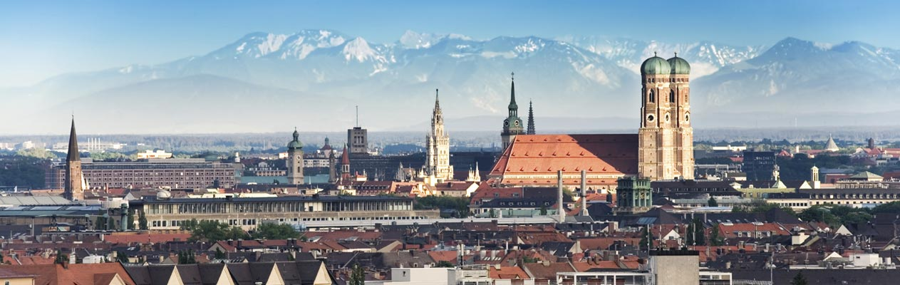 Munich skyline with German Alps
