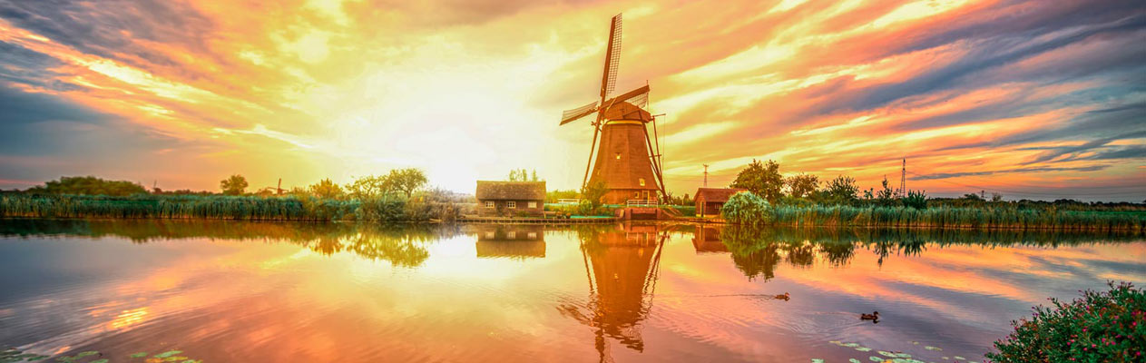 Windmill in the Netherlands countryside