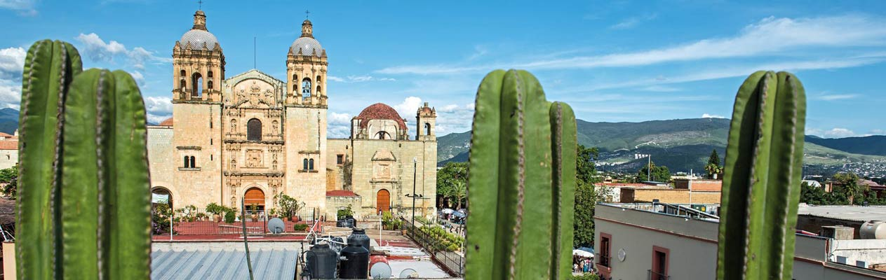 Oaxaca Cathedral from rooftop restaurant