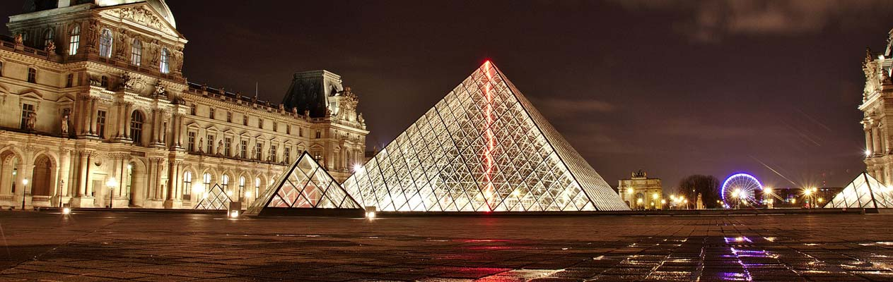 The Louvre in Paris at night