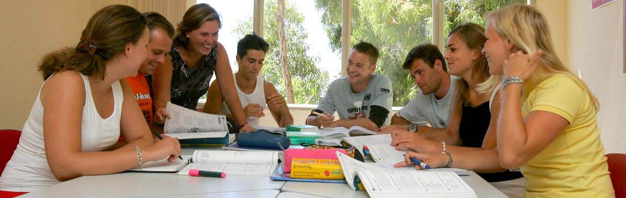 Students in a Spanish class in Malaga