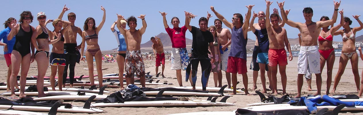 Students surfing in Lanzarote