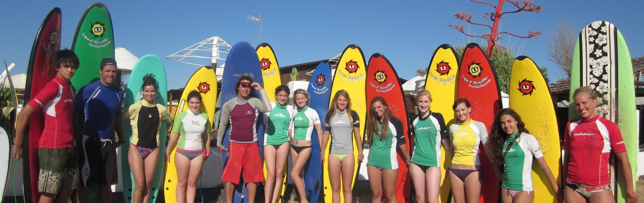 Students surfing in Vejer