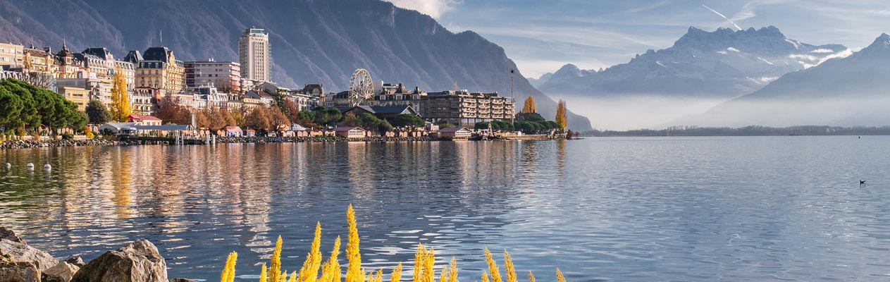 Landscape in Switzerland - Montreux lake and mountains