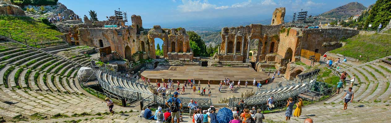 View from the ancient greek theater of Taormina, Sicily