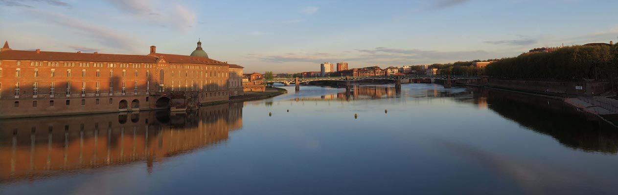 Toulouse from the Garonne River in France